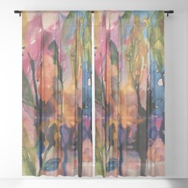 evening garden Sheer Curtain