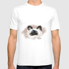Crazy Siamese White MEDIUM Mens Fitted Tee