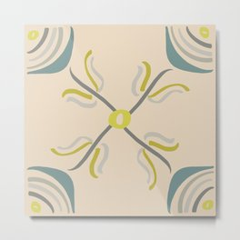 Modern Flower in Teal Gray Peach (Blush) and Yellow Metal Print