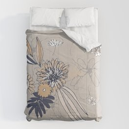 Taupe Contemporary Line Art Flowers Comforters