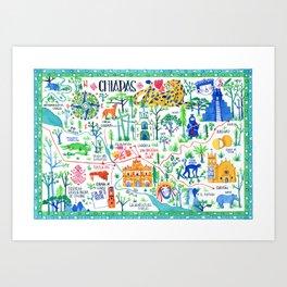 A map of Chiapas Art Print