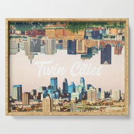 Skylines of Twin Cities Minneapolis and Saint Paul Minnesota Serving Tray