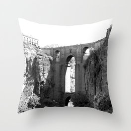 Black White Bridge Architecture Throw Pillow