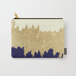 Navy blue ivory faux gold glitter brushstrokes Carry-All Pouch