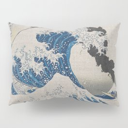 Great Wave Off Kanagawa Erupting Mount Fuji Pillow Sham