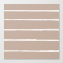 Skinny Strokes Gapped Horizontal Off White on Nude Canvas Print