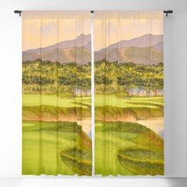 Pebble Beach Golf Course Holes 9 and 10 Blackout Curtain