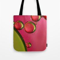 lime green Tote Bags featuring Lime Green & Strawberry by Sharon Johnstone