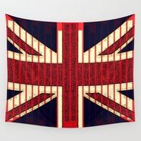 british Wall Tapestries featuring BRITISH FLAG by shannon's art space
