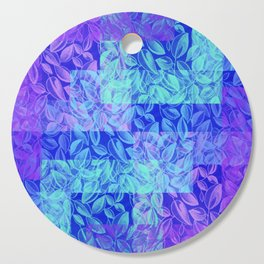 colorful pastel blue geometrical shapes pattern print with painted leaves design Cutting Board