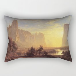 Yosemite Valley Yellowstone Park 1868 By Albert Bierstadt | Reproduction Painting Rectangular Pillow