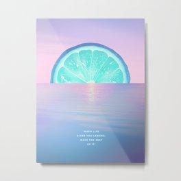When life gives you lemons - Surreal Lemon Collage Sunset Metal Print