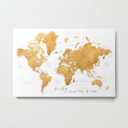 For God so loved the world, world map in gold Metal Print