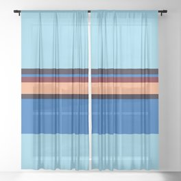Retro 70s Blue Center Wave Sheer Curtain