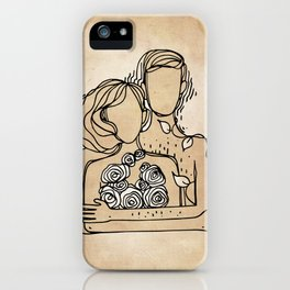 Adam and Eve ink drawing illustration minimal art love iPhone Case