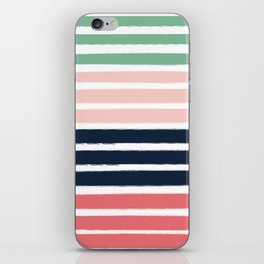 Brooklin - abstract minimal pink coral navy painting home decor abstract charlotte winter art iPhone Skin