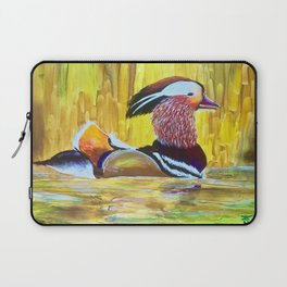 Colorful Mandarin Duck Floating on the water Laptop Sleeve