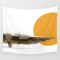 falcon Wall Tapestries featuring Millennium Falcon by J Maurice