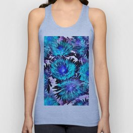 Turquoise Purple Abstract Flowers Unisex Tank Top