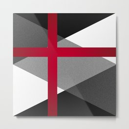Black and White Triangles // Red Pink Cross (Golden Ration) Metal Print