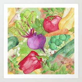 Mixed Vegetables Watercolor Art Print
