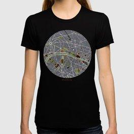Paris city map engraving T-shirt