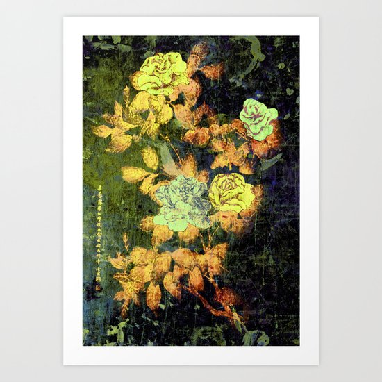Old Chinese Painting - Peonies Art Print