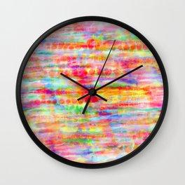 Light Rainbow Tie Dye Stripes Wall Clock