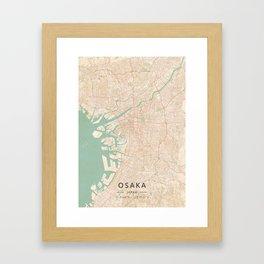 Osaka, Japan - Vintage Map Framed Art Print