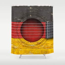 Old Vintage Acoustic Guitar with German Flag Shower Curtain