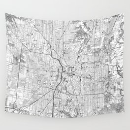 Vintage Map of San Antonio Texas (1953) BW Wall Tapestry