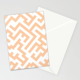 White and Deep Peach Orange Diagonal Labyrinth Stationery Cards