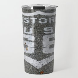 Route 66 sign on the road Travel Mug