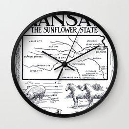 Vintage Illustrative Map of Kansas (1912) Wall Clock