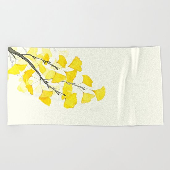 Golden Ginkgo Leaves Beach Towel