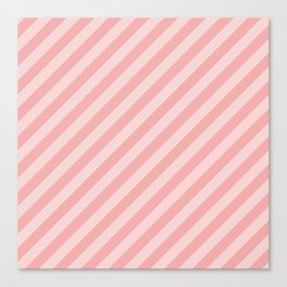 Classic Blush Pink Glossy Candy Cane Stripes Canvas Print