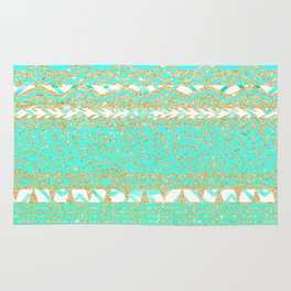 Modern gold turquoise teal ombre aztec pattern Rug