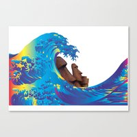 hokusai Canvas Prints featuring Hokusai Rainbow & Moai by FACTORIE