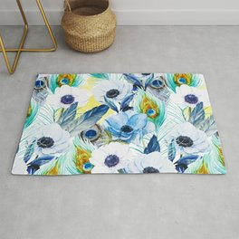 Watercolor Peacock Feather Pattern Rug