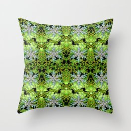 GREEN AURORA WINTER SNOWFLAKES PATTERN Throw Pillow