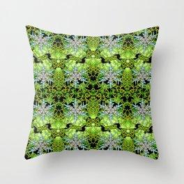 GREEN AURORA WINTER SNOWFLAKES PATTERN Throw Pillow