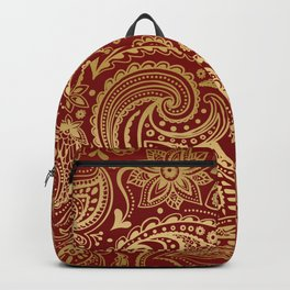 Gold and dark-red paisley Backpack