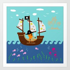 Little Captain Pirate Octopus Art Print