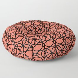 Pantone Living Coral and Black Rings, Circle Heaven 2, Overlapping Ring Design Floor Pillow