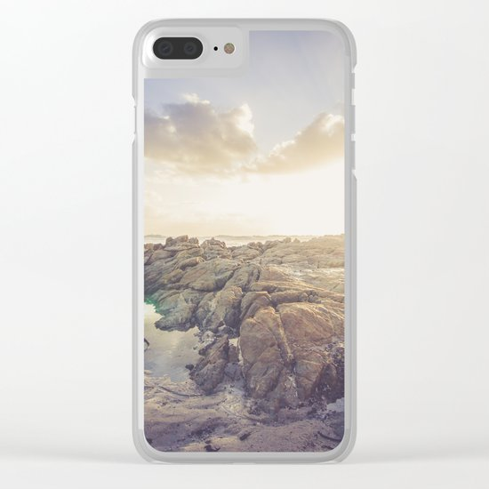 Golden hour, rocky beach landscape Clear iPhone Case