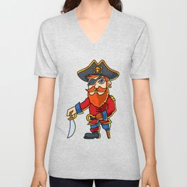 Pirate Cartoon Character Unisex V-Neck