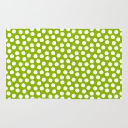 White Polka Dots on Fresh Spring Green- Mix & Match with Simplicty of life Rug