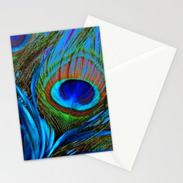 FLOWING BABY BLUE PEACOCK FEATHERS ART Stationery Cards