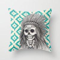 calavera Throw Pillows featuring Calavera Skull by MY  HOME