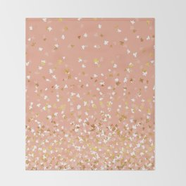 Floating Confetti - Peach and Gold Throw Blanket